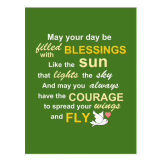 Irish Blessing for Courage - Typography in Green Postcard