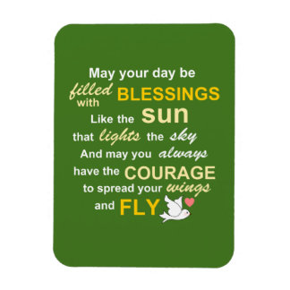 Irish Blessing for Courage - Typography in green Rectangular Photo Magnet
