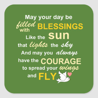 Irish Blessing for Courage - Typography in Green Square Sticker
