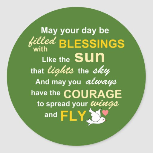 Irish Blessing for Courage - Typography in Green Round Stickers