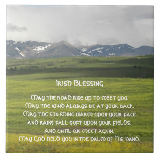 Irish Blessing Green Valley Large Square Tile