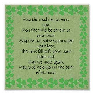 Irish Blessing-May the road rise to meet you Poster