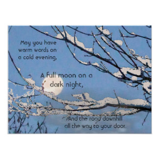 Irish Blessing- May you have warm words on a cold Poster