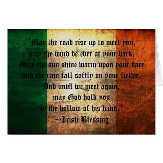 Irish Blessing on Distressed Flag Greeting Card