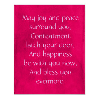 Irish Blessing Quote on a Pink Background Poster