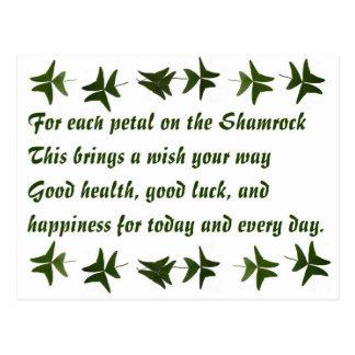 Irish Blessing Shamrock2 Postcard