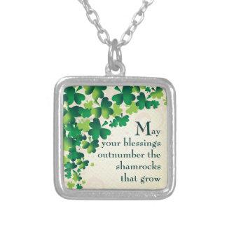 Irish Blessing Shamrock Necklace