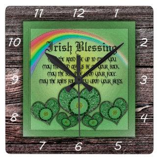 Irish Blessing Square Wall Clock