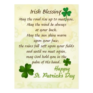 CChristianDesigns Irish Blessing St. Patrick's Day Custom Postcard