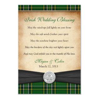 Irish Blessing Tartan Claddagh Lucky Wedding Card at Zazzle
