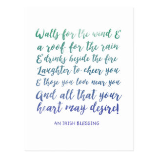 Irish Blessing Watercolor Typography Postcard