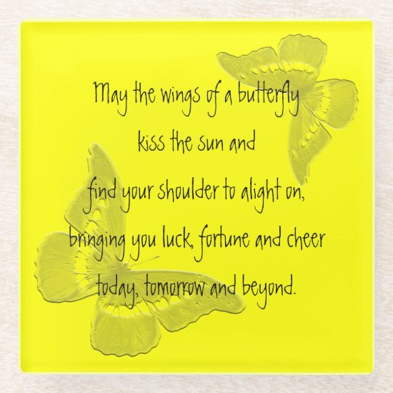 Irish Blessing: Wings of a Butterfly Glass Coaster
