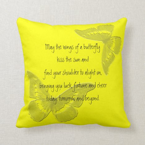 Irish Blessing: Wings of a Butterfly Throw Pillow