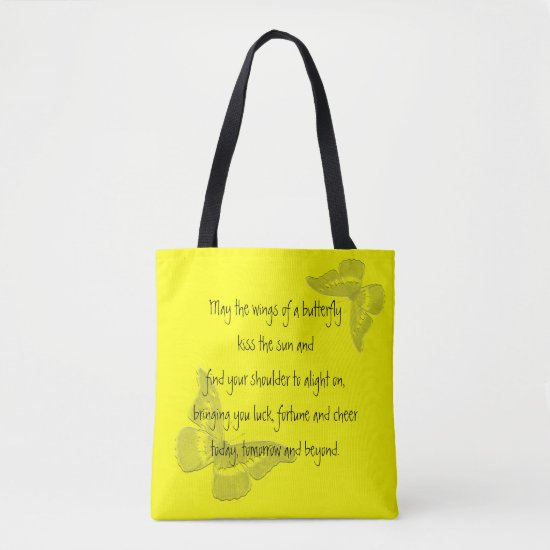 Irish Blessing: Wings of a Butterfly Tote Bag