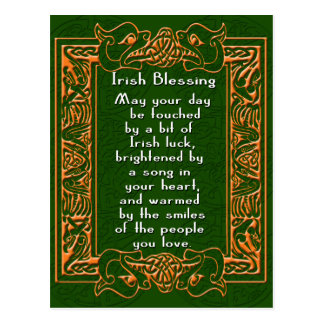 Irish Blessing with Celtic Font and Background Postcard