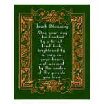 Irish Blessing with Celtic Font and Background Posters