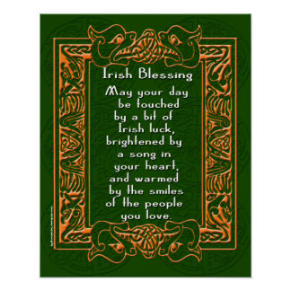 Irish Blessing with Celtic Font and Background Poster