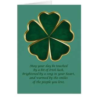 Irish blessing with green shamrock clover card
