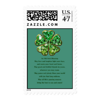 Irish blessing with green shamrock clover postage stamp