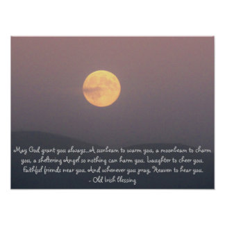 Irish Blessing with Super Moon over Spokane Mt. Posters