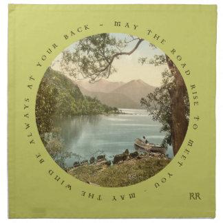 Irish Blessing With Vintage Mountain Lake Napkin