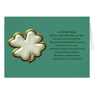Irish blessing with white shamrock clover card
