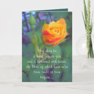 Irish Blessing Yellow Rosebud Card card