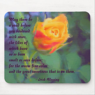 Irish Blessing Yellow Rosebud Mousepad