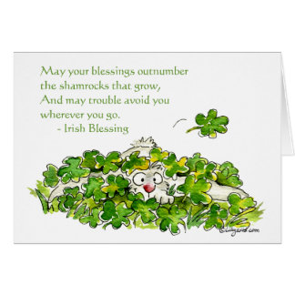 Irish Blessings Cartoon Shamrocks Cards