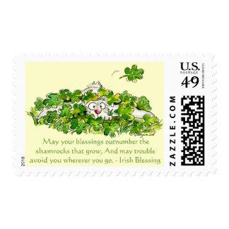 Irish Blessings Cartoon Shamrocks Postage Stamps