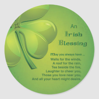 Irish Blessings Green Shamrock, Celtic Classic Round Sticker