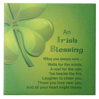 Irish Blessings Green Shamrock, Celtic Tile