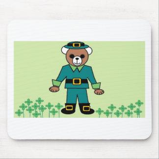 Irish boy bear with shamrock mouse pad