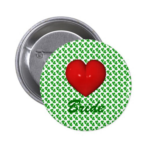 Irish Brid Shamrock with red hearts Buttons