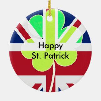 Irish British Flag Shamrock Clover St. Patrick UK Ceramic Ornament