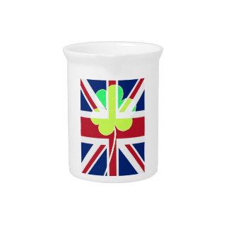 Irish British Flag Shamrock Clover St. Patrick UK Drink Pitcher