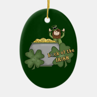 Irish Buck Double-Sided Oval Ceramic Christmas Ornament