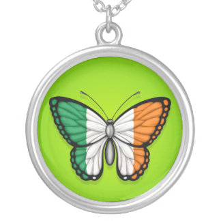 Irish Butterfly Flag on Green Necklace