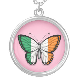 Irish Butterfly Flag on Pink Personalized Necklace