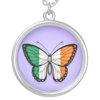 Irish Butterfly Flag on Purple Necklace