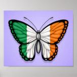 Irish Butterfly Flag on Purple Poster