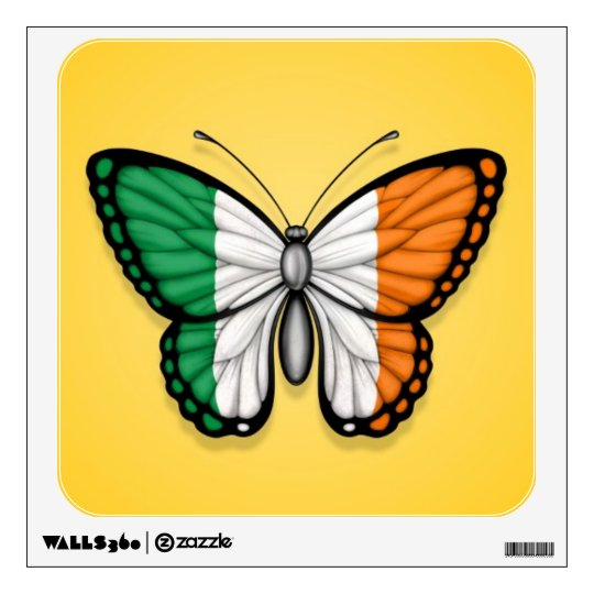 Irish Butterfly Flag on Yellow Wall Decal