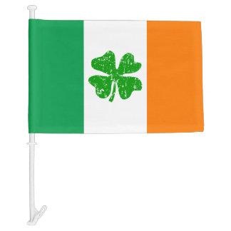 Irish car flag with shamrock for St Patricks Day