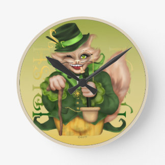 IRISH CAT ST-PATRICK Round (Medium) CLOCK