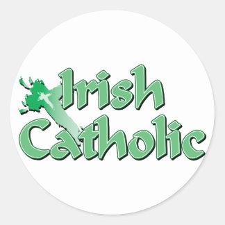 Irish Catholic Cross Classic Round Sticker