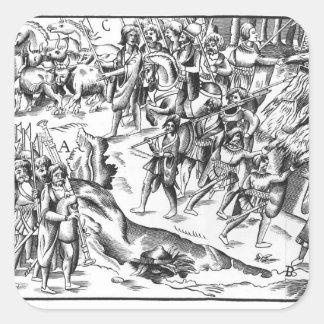 Irish Cattle Raid on an English Plantation Square Sticker