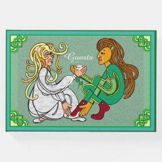 Irish celtic lovers green knotwork art guest book
