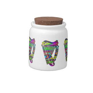 Irish Celtic Rainbow Color Harp Candy Jar