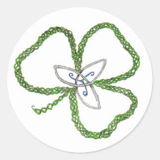 Irish Celtic Shamrock Knot Classic Round Sticker