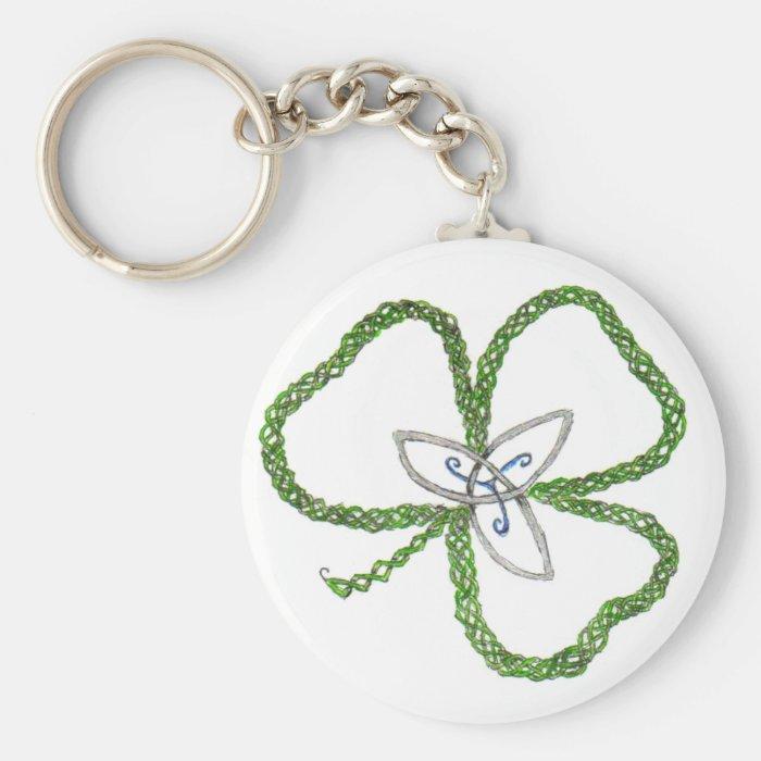 Irish Celtic Shamrock Knot Keychain